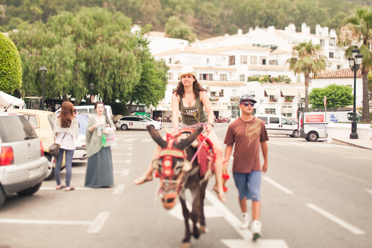 Toronto Photographer : riding donkey in Mijas, Spain