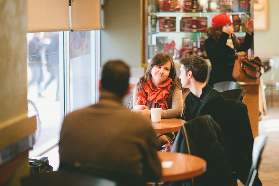Toronto Photojournalistic Photography : couple enjoying coffee at Tim Horton's