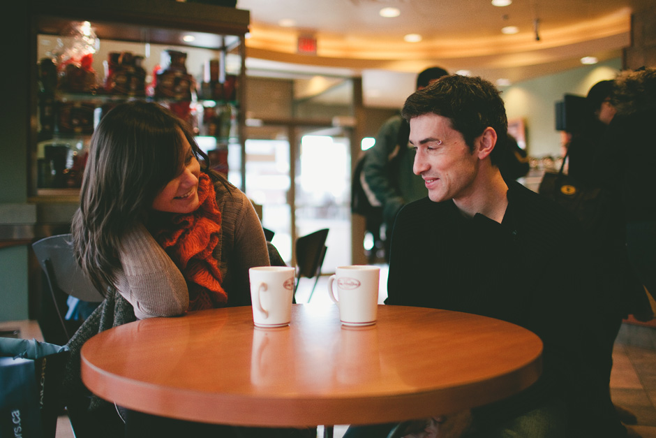 Photojournalistic Engagement Photographer in Toronto : couple enjoying coffee at Tim Horton's