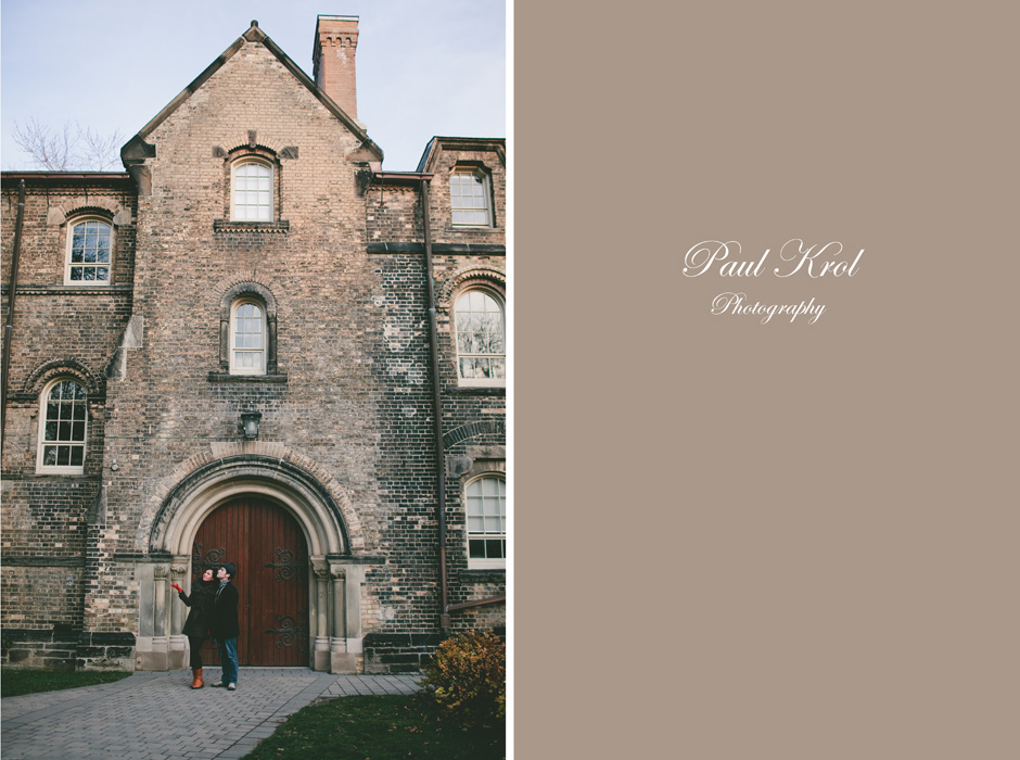 Toronto Engagement Photography : couple standing outside a U of T building