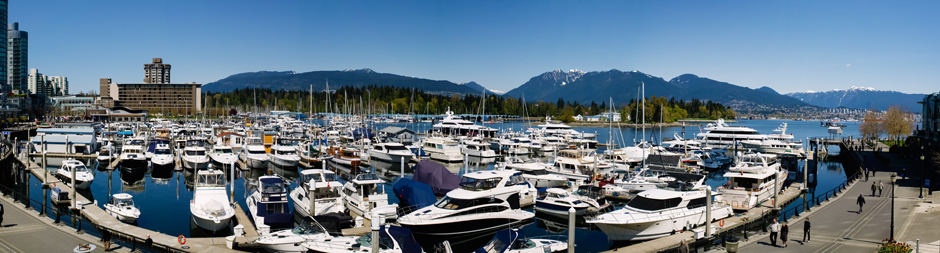 Panorama of Coal Harbour in Vancouver