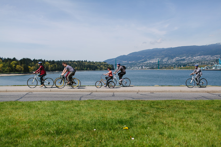 SWPB Group biking in Stanley Park with Brian Van Wyk, Andy Stenz, Sabrina Kolotylo, Dallas Kolotylo, Tomasz Wagner and Don J Derosier