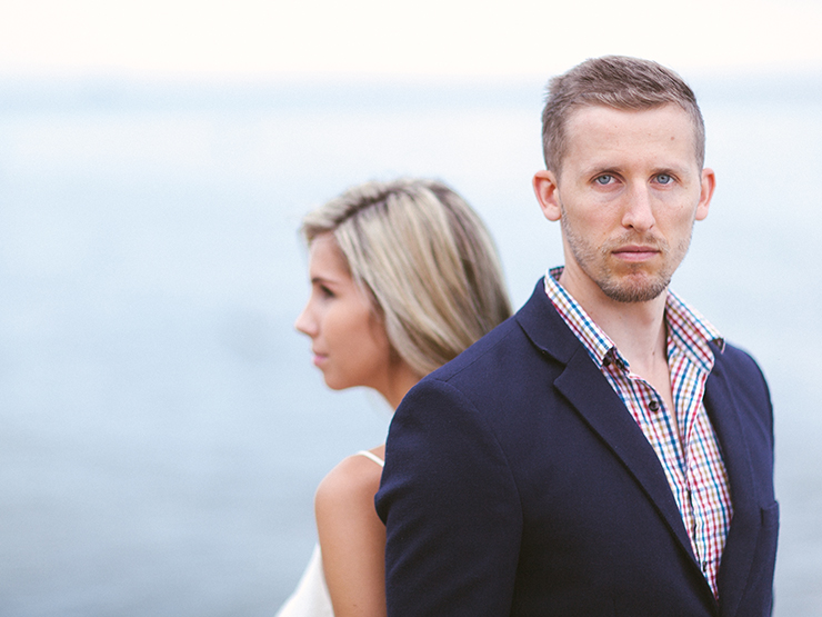 Engagement photo by beach
