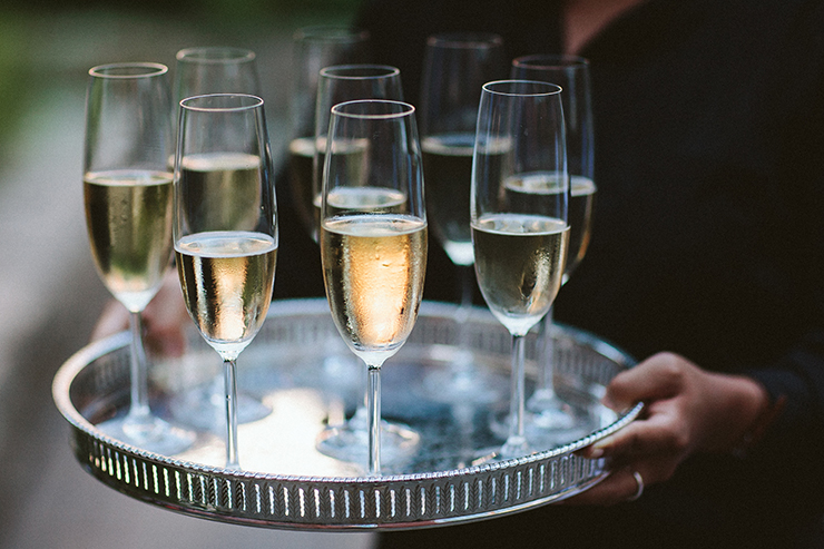 Champagne at wedding