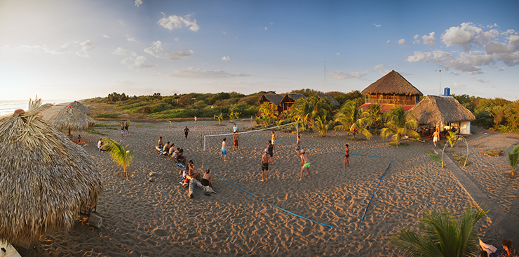 Panorama Volleyball game at Surfing Turtle Lodge in Nicaragua